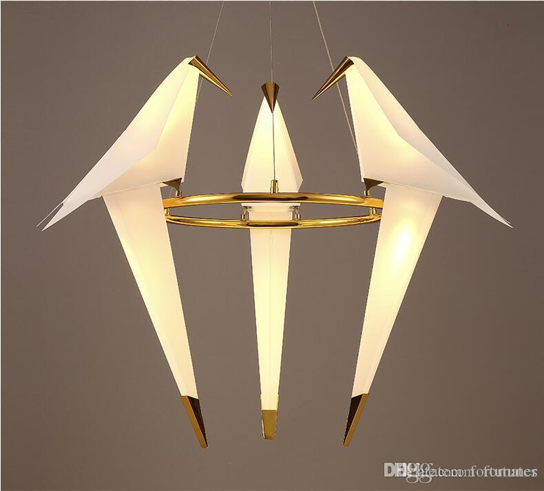 acrylic bird led chandelier luxury 3 6 lamps fashion chandelier golden light modern large. Black Bedroom Furniture Sets. Home Design Ideas
