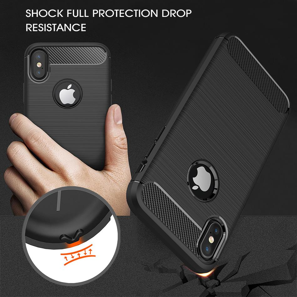 Capinha Para iPhone 11 PRO MAX XS MAX XR Galaxy Note 10 S10 PLUS S9 S8 PLUS Escova Protetora de Fibra de Carbono Capa para Celular Macia Casos com Saco OPP