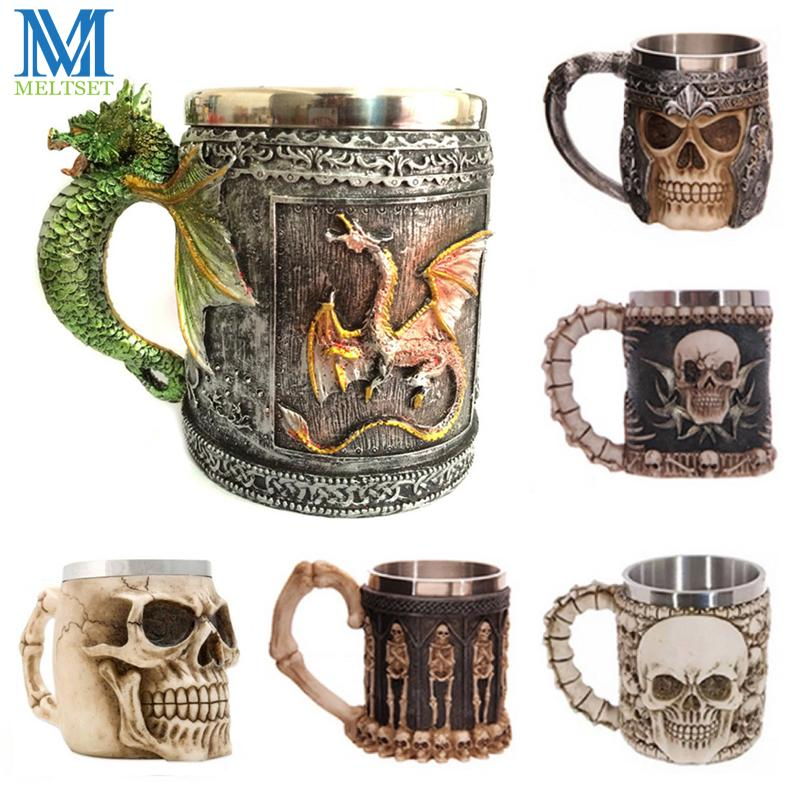 Wholesale Novelty 3D Skull Mugs Coffee Cup Stainless Steel ...