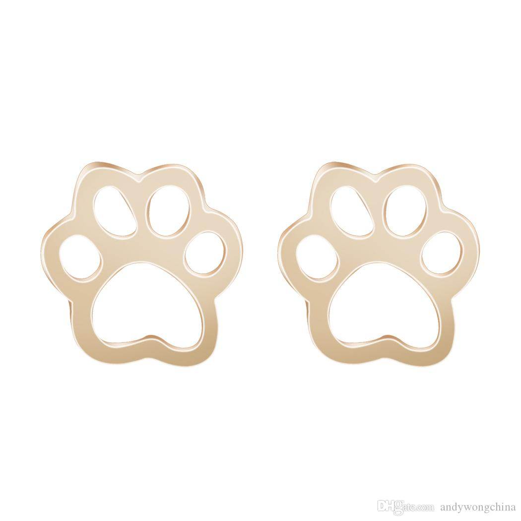 gold rosa vila products rose stud earrings dog print shop paw
