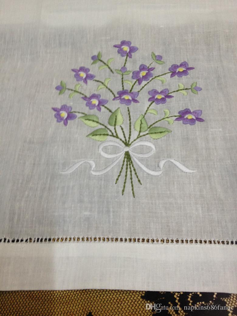 Ev Tekstili Beyaz keten Bayanlar Mendil El Havlusu 12 Adet / grup 14x22