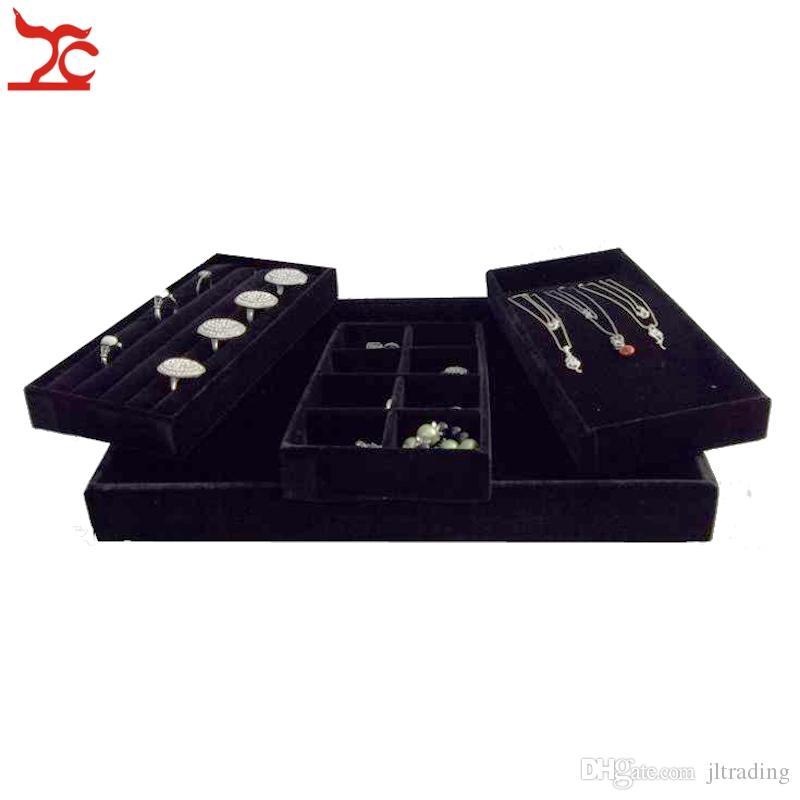 Kostenloser Versand Schmuck Verpackung Box Platte Bolzen Ohrring Anhänger Display Fach Grau Schwarz Rot Braun Samt Schmuck Aufbewahrungsboxen