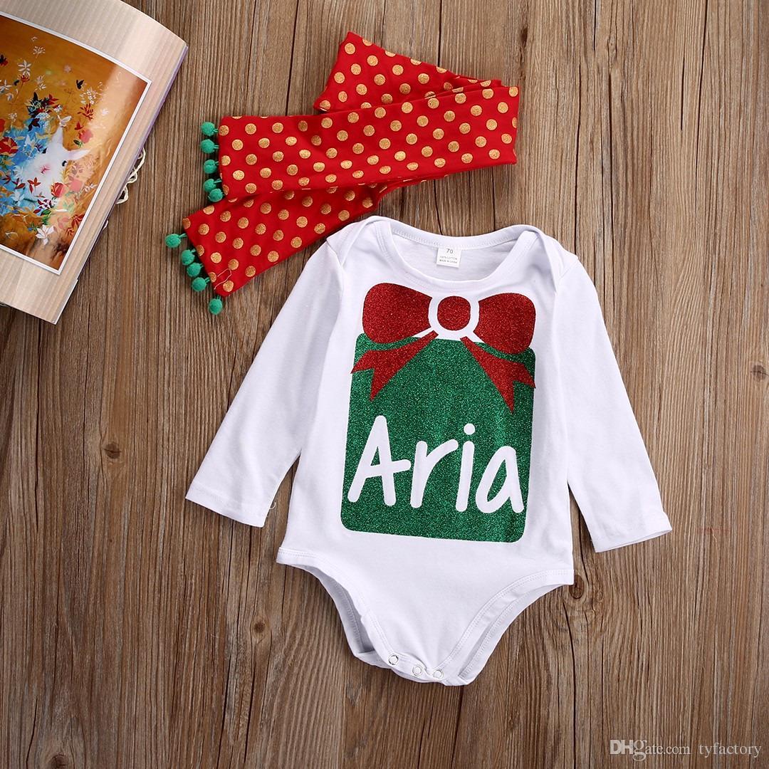 2017 caldi di vendita dei capretti di modo tute della ragazza del neonato di Natale imposta neonato del pagliaccetto + la fascia delle tute Outfits Set di abbigliamento 0-24M Fact