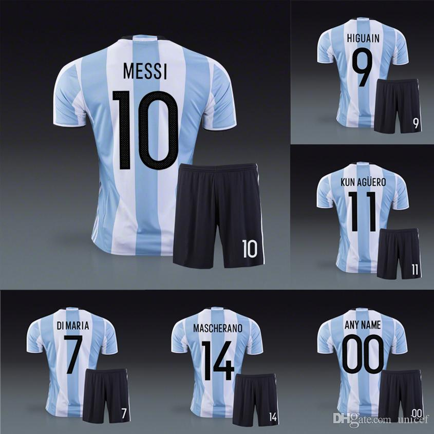 b769130dc 2019 Argentina 2016 Copa Home Soccer Uniform Football Kit Lionel Messi Di  Maria Gonzalo Higuain Carlos Tevez Mascherano Diego Maradona Kun Aguero  From ...