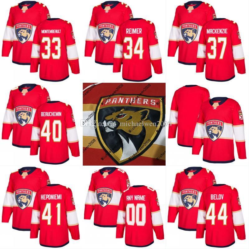 newest 8a4f4 df3b8 2017-2018 Season Florida Panthers Jersey 33 Samuel Montembeault 34 James  Reimer 37 Matt Mackenzie 40 Francois Beauchemin Hockey Jerseys