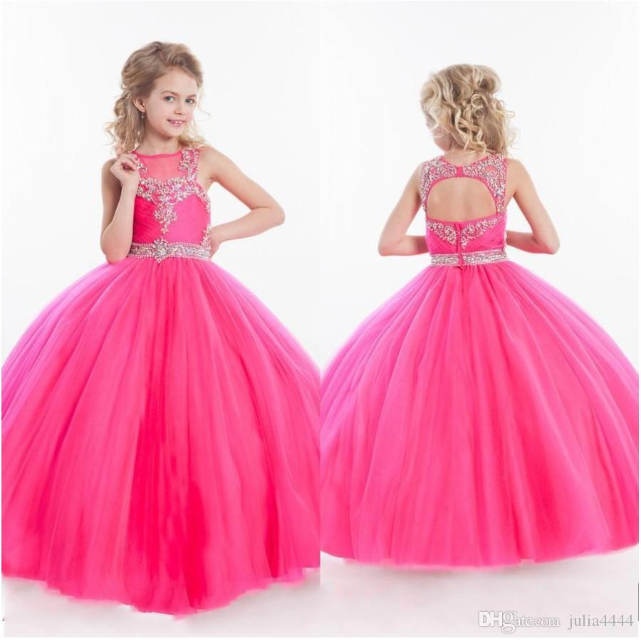 Girls Pageant Dresses Little For Girls Gowns 2019 Toddler Hot Pink Kids Ball Gown Floor Length Glitz Flower Girl Dress For Weddings Beaded