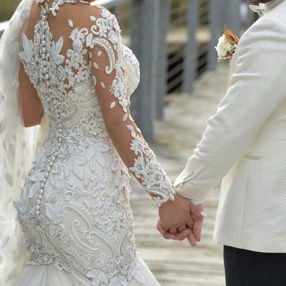 Azzaria Haute Plus Size Ilusão Manga Comprida Sereia Vestidos de Noiva Nigéria Alta Pescoço Completa de volta Dubai Árabe Castelo de Casamento vestido