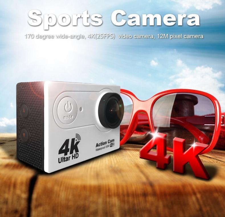 4K WIFI Cámara a prueba de agua Cámara deportiva EKEN Ultra HD 4K WiFi 1080P / 30fps 2.0 LCD 170D lente Casco Cam cámara impermeable bajo el agua