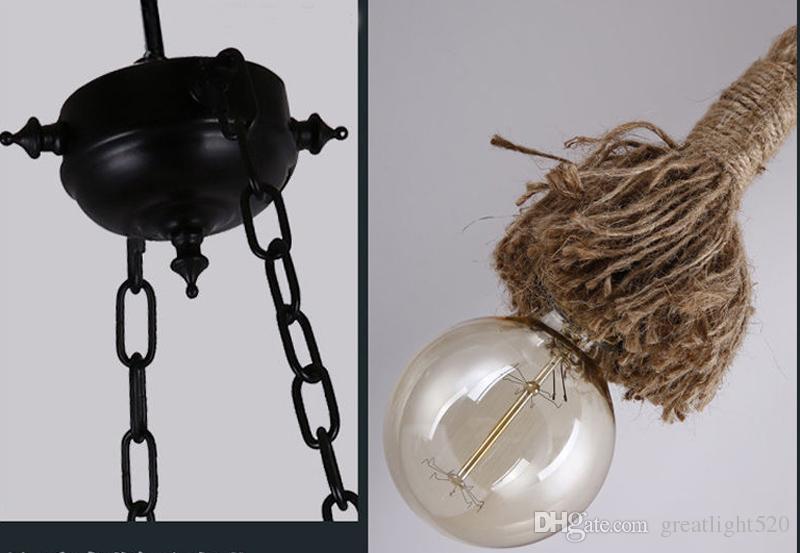 Веревка регулируемый подвесные светильники Vintage DIY Люстра Loft творческой личности DIY Промышленный свет подвеска Бар светильник 90-260V # 05