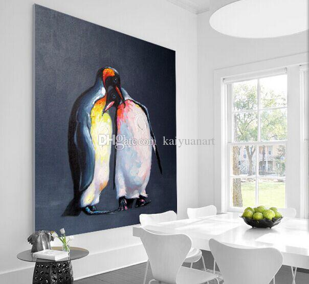 Decorated Animal Picture Canvas Printing Hand Painted Penguin Lovers Wall Painting for Living Room or Baby Room No Frame