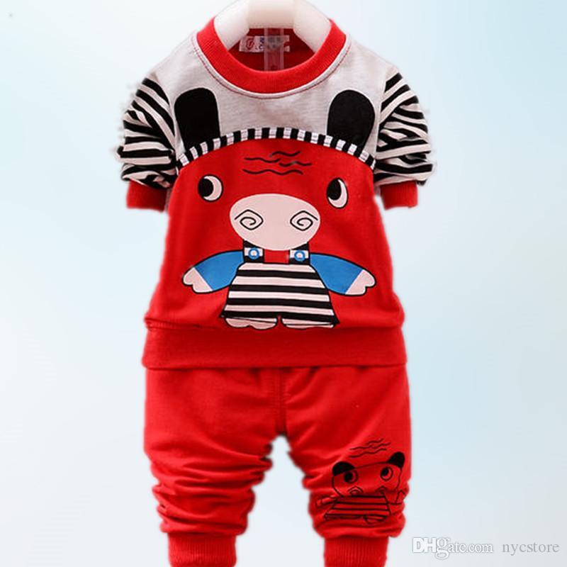 DHL LIVRE por atacado dos desenhos animados urso tiger carta crianças roupas set bebê de manga longa T-shirt calças 1-3 T