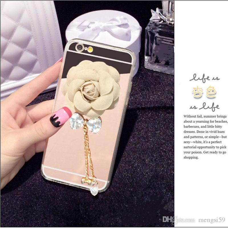 For Samsung galaxy a3 a5 a7 2016 2017 prime Beaut Luxury Diamond Camellia Clean bow chain soft mirror case