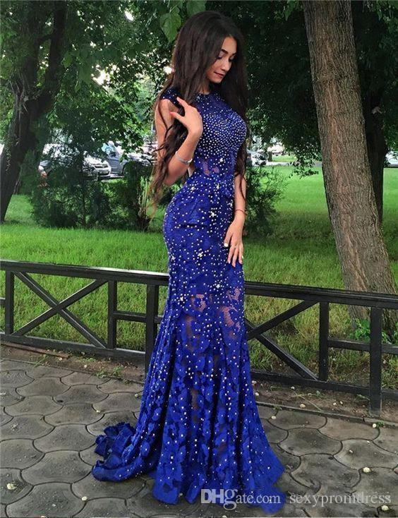 Sparkly Royal Blue Lace Evening Gowns Sequins Beaded Open Back Mermaid Prom Dress See Through Sweep Train Cocktail Party Dress
