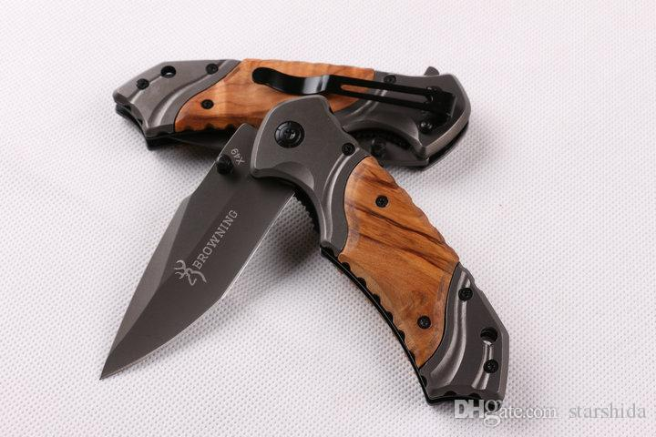 Browning X49 Titanium Pocket Folding Knife Flipper Tactical Camping Hunting Survival Knife 57HRC Wood Handle Outdoor Gear Utility EDC Tool