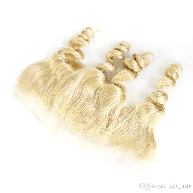 # 613 블론 느슨한 웨이브 페룰리언 인간의 머리카락 3 번들, 앞면이없는 중형 3 웨이 파트 13x4 레이스 정면 폐쇄