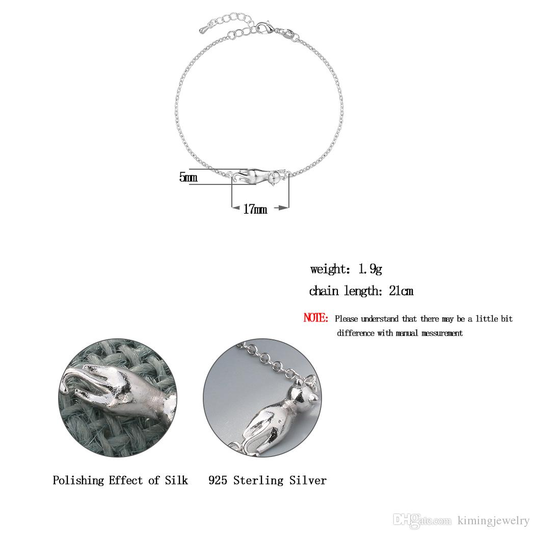 Silver Jewelry Mini Cute Animal 3D Cat Charms Bracelets 925 Sterling Silver Bracelet for Women Gift