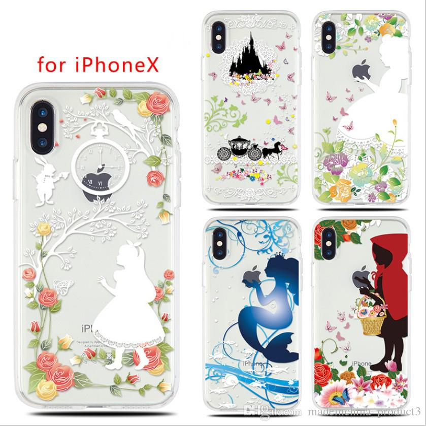 new arrival c8b79 8b33b For Apple iphone X Cover Cartoon Mermaid Snow White Princess Soft TPU Case  for iphone 8 7 6 6s plus