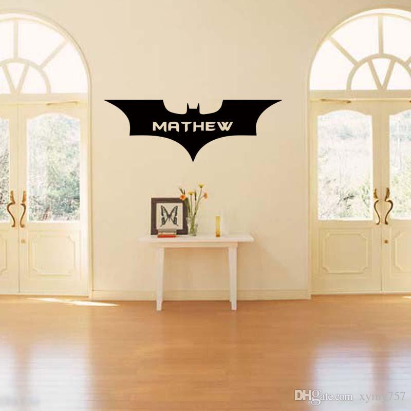 New Style For Batman Personalised Name Superhero Vinyl Removable Wall Art Sticker Decal Bedroom Sitting Room Diy