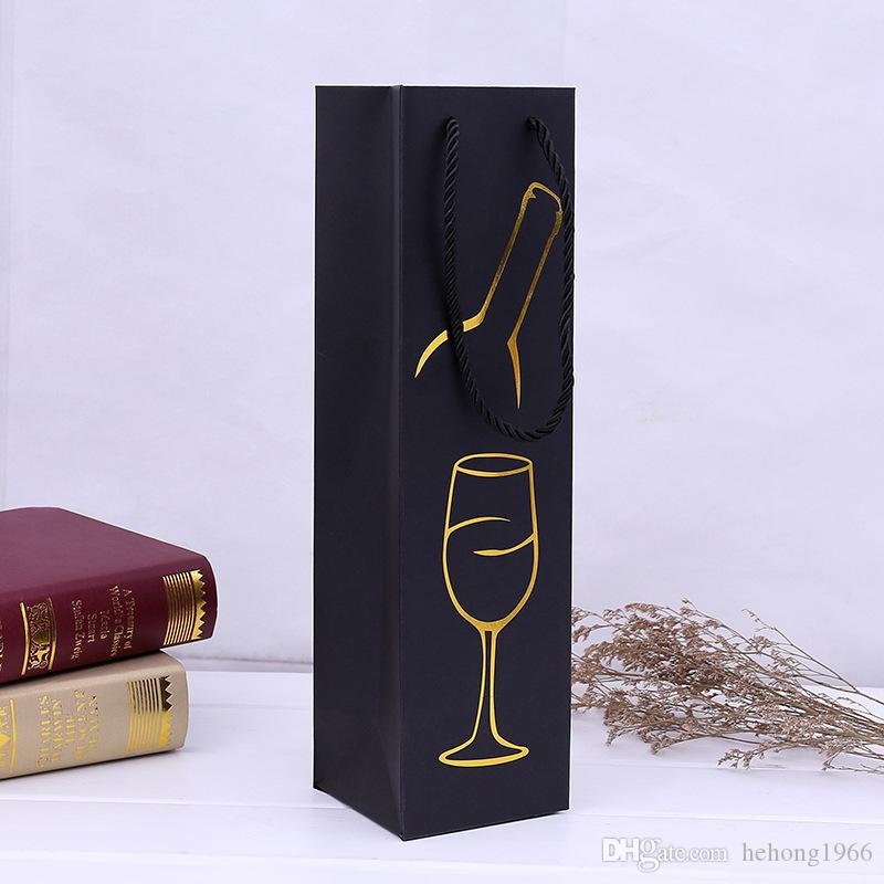 Gift Packing Paper Case Originality Printing Pattern Pull Rope Single Red Wine Bag For Portable Multi Color 1mx C R