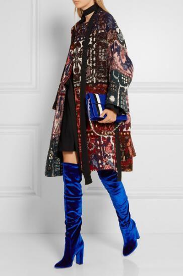 Sexy Herbst Winter Frauen Samt Overknee Stiefel Hellblau Komfortable Oberschenkel Hohe Stiefel Mode High Heel Stiefel Frau