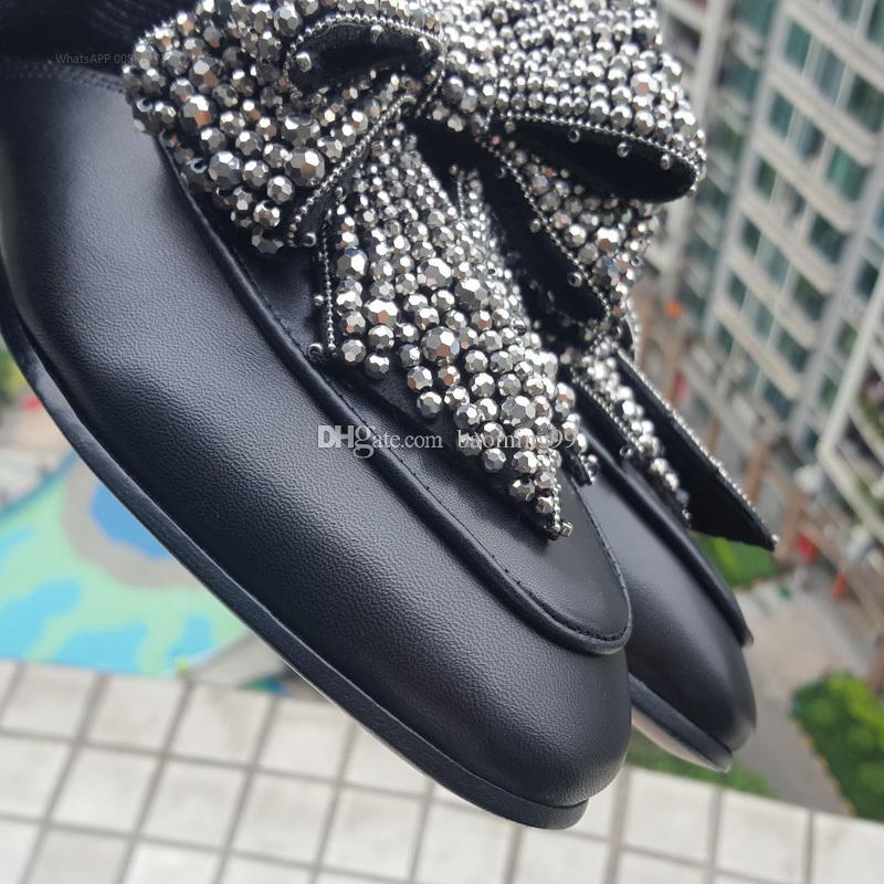2017 Retro de Cuero Genuino Zapatilla de Piel de Las Mujeres Punta Redonda Rhinestone Diamante Bowtie Embellecido Zapatos Planos flip flop 35-40