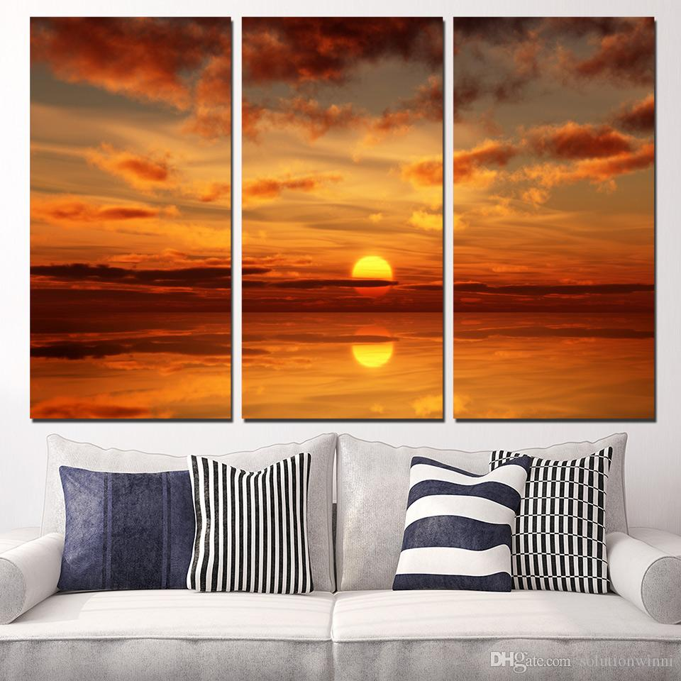 3 Panels Canvas Art Ocean Sunset Fire Cloud Home Decor Wall Art Painting Canvas Prints Pictures for Living Room Poster XA1070B