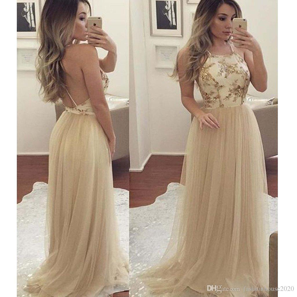 e30941a8e4 Modest Gold Lace Prom Dresses Long Halter Neck Appliques Sexy Backless Prom  Party Dress Formal Red Carpet Gowns Custom Made Vintage Style Prom Dresses  50s ...