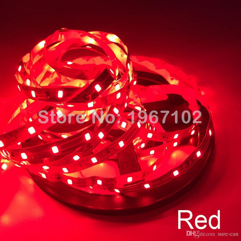 5M LED 스트립 빛 SMD 2835 60LED / M 300LEDs 유연한 주도 빛 문자열 RGB 레드 블루 그린 화이트 크리스마스 파티 무료 배송