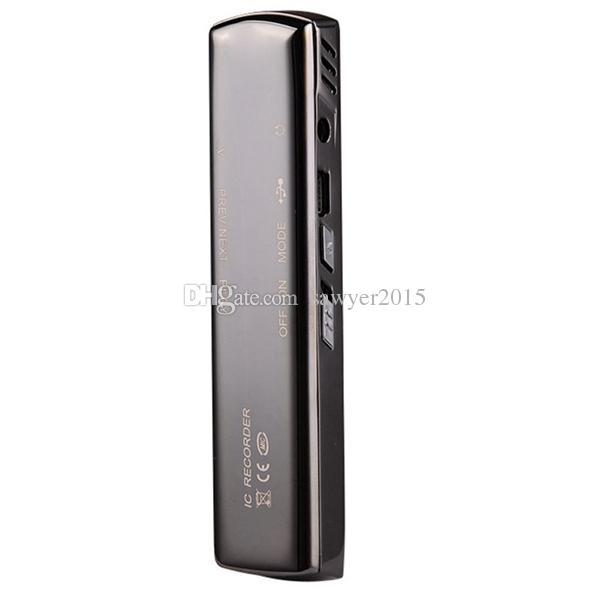 Grabación larga profesional 4 GB 8 GB Grabación estéreo en acero Mini grabadora de audio digital Grabadora de voz Reproductor de MP3 FM con caja de venta al por menor