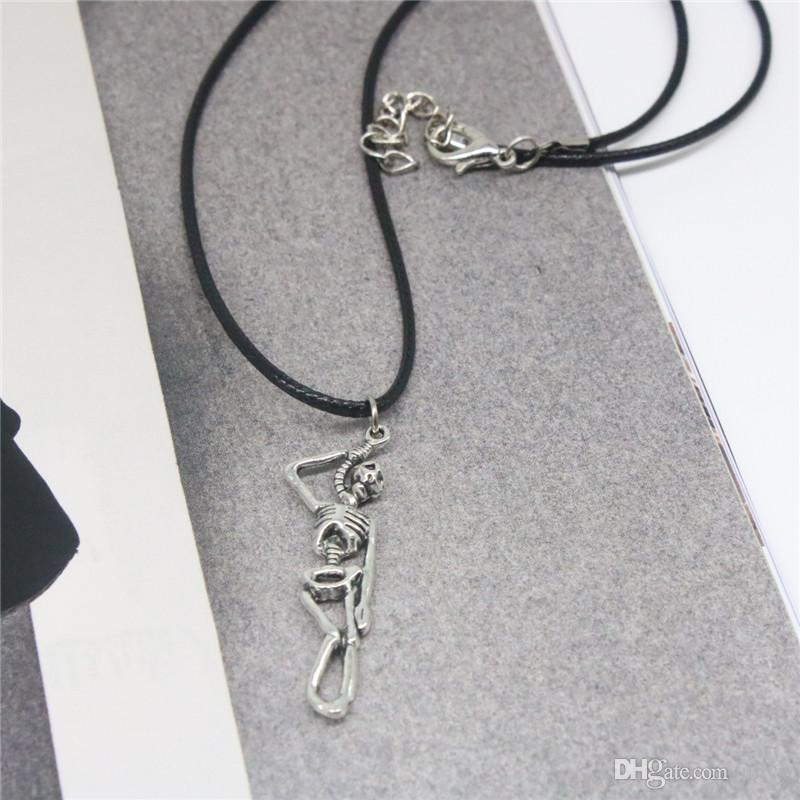 2019 New Cool Men Necklace Skeleton Pendant Necklace Motorcycle Skull Silver Plated Fashion Necklaces For Men Gift