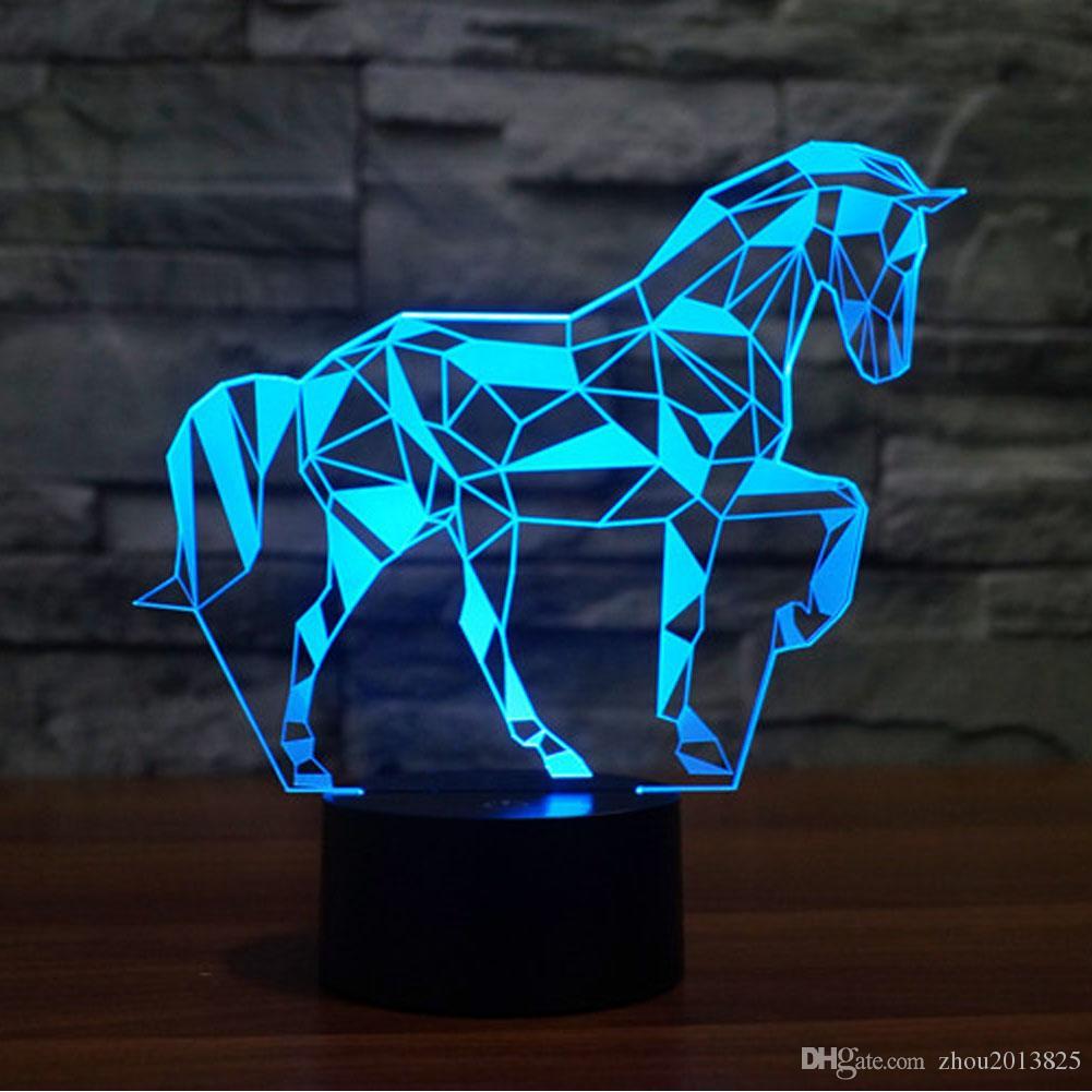Puzzle 7 Mignon Lumières Table De Light Couleurs 3d Bulbing Cheval Changeant Lampe D Optique Enfants Night Illusion QxoedErCBW