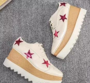 new Stella Mccartney women Shoes Silver Stars Leather Hot in UK Wedge Platform Elyse Nina Platform