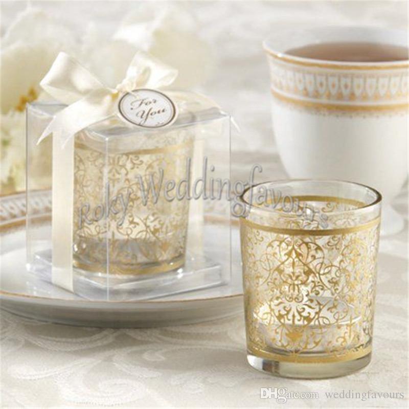 Spedizione gratuita 50 pz forniture feste golden rinascimentale in vetro supporto di luce di candela portacandele tazza di vetro bomboniere partito tavolo decori