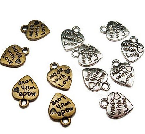 500 pçs / lote Antique Bronze liga de prata FEITO COM AMOR Coração Encantos Pingentes Para Jóias diy Fazendo achados 9x11mm