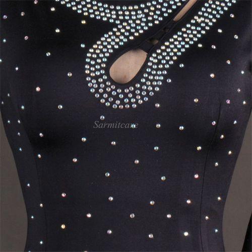 Latin Dance Dress Mujeres Niñas América Salsa Samba Competencia vestidos de trajes de diamantes de imitación D0295 Sheer Hem largo mangas de malla