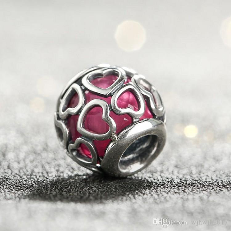 New Encased in Love Charms Bead With Red Crystal 925 Sterling Silver Heart Beads For DIY Brand Bracelets Jewelry Making Accessories