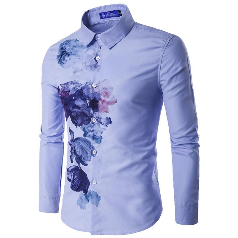 637223b6 Wholesale- Personalized Design Hot Sale Shirt For Men 2016 Autumn New  Floral Pattern Fashion Mens Clothes Slim fit Men Charm Shirts 16C813