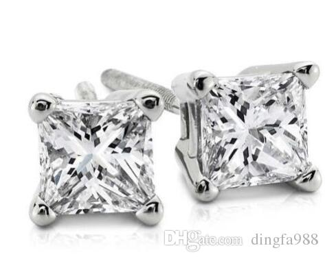 5fae66838c4e Compre 1.00ct Princesa Cut Genuine G   Vs2 Diamantes 14k Oro Blanco Sólido  Stud Pendientes A  50.26 Del Dingfa988