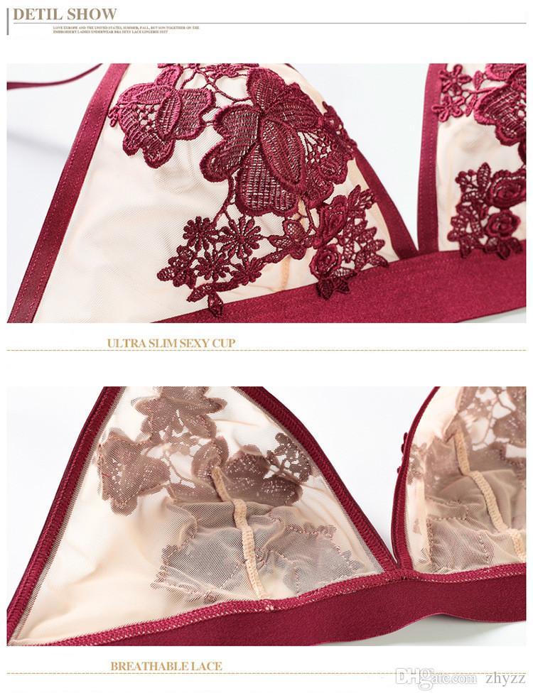 New Arrival Sexy Lace Bra Briefs Set Luxury Embroidery flower Ultra Thin Woman Bra Set Sexy Gauze Woman Underwear Set Four Colors