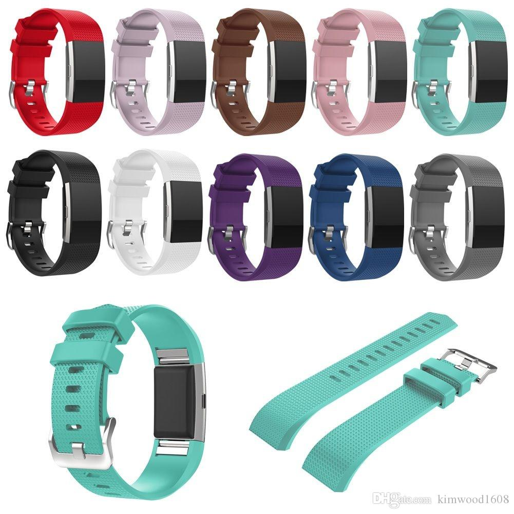Pour Fitbit Charge 2 bandes de rechange en silicone coloré Bandes de montres de remplacement sport en silicone souple pour Fitbit Charge 2 avec ensemble OPP