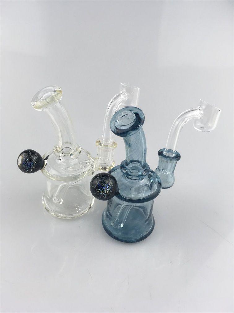 hghkgUv Glass Material Mini Glass Bong Heady Smoking Pipes Oil Rig 10mm Glass Bowl