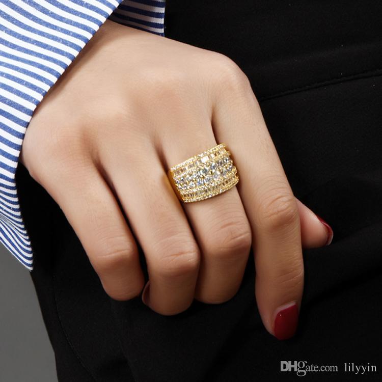 Deczign Unique Design anello luminoso lucido con Clear cubic zirconia cristallo Luxury Gold / White Gold colore Wide Women Rings Jewelry SJ23433