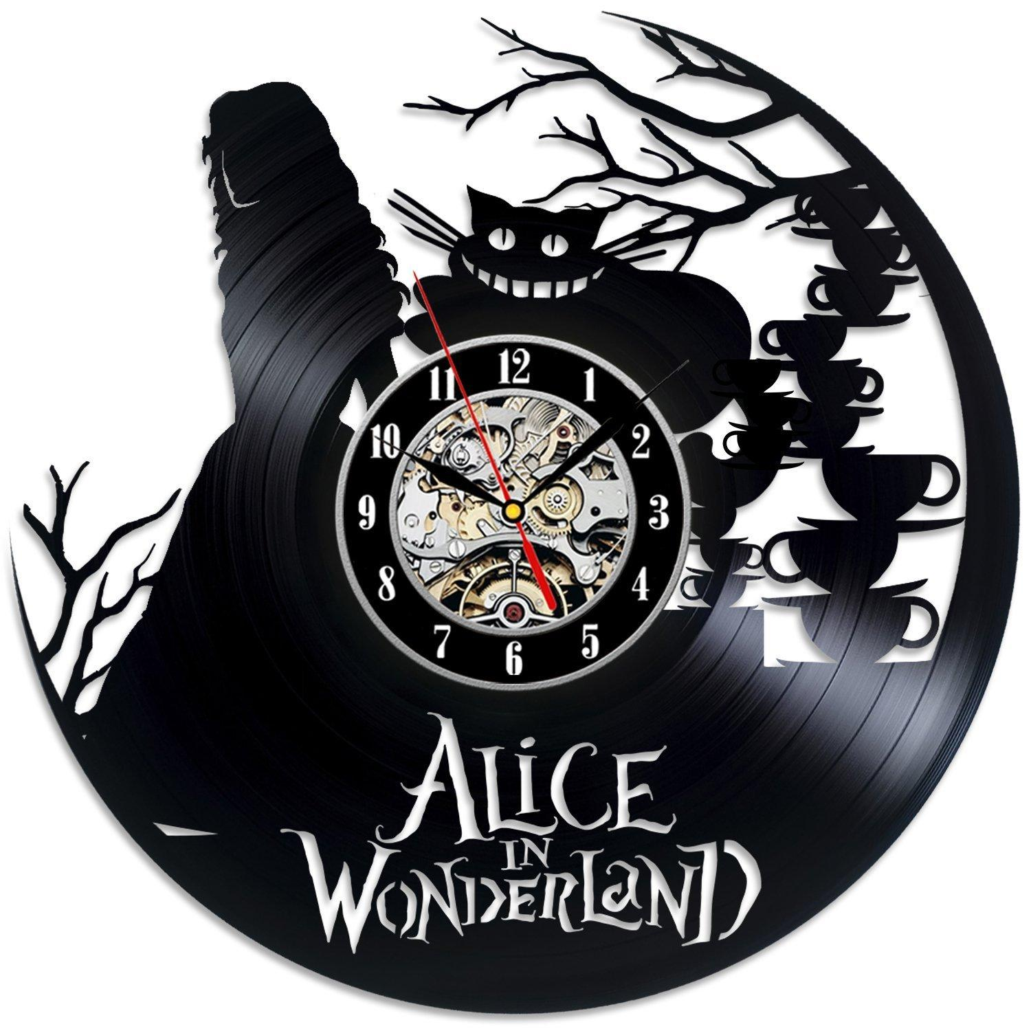Alice in wonderland vinyl record wall clock decorate your home alice in wonderland vinyl record wall clock decorate your home with modern art gift for kids girls and boys wood clock wood clocks from xsj20142014 amipublicfo Choice Image