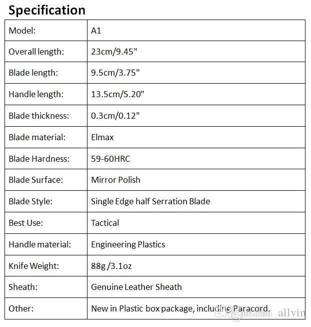 Allvin Manufacture High End A1 Auto Tactial Knife Elmax Drop Point Half Serrated Mirror Polish Blade Outdoor Survival Tactical Gear EDC