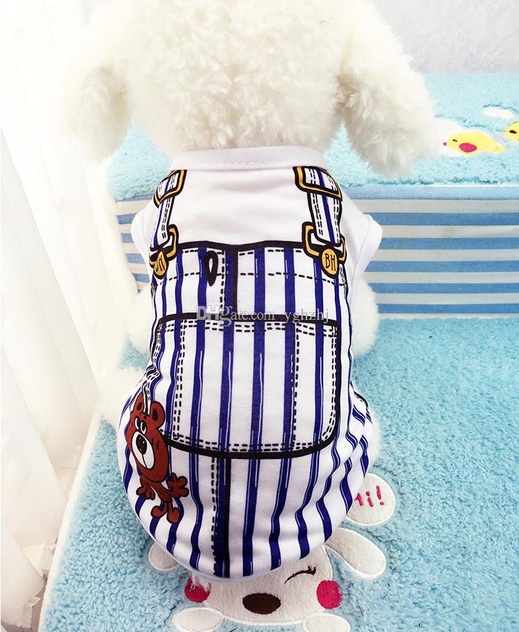 Wholesale pet clothes, new spring and summer dog vest, fake belt pet clothes, bar clothes,