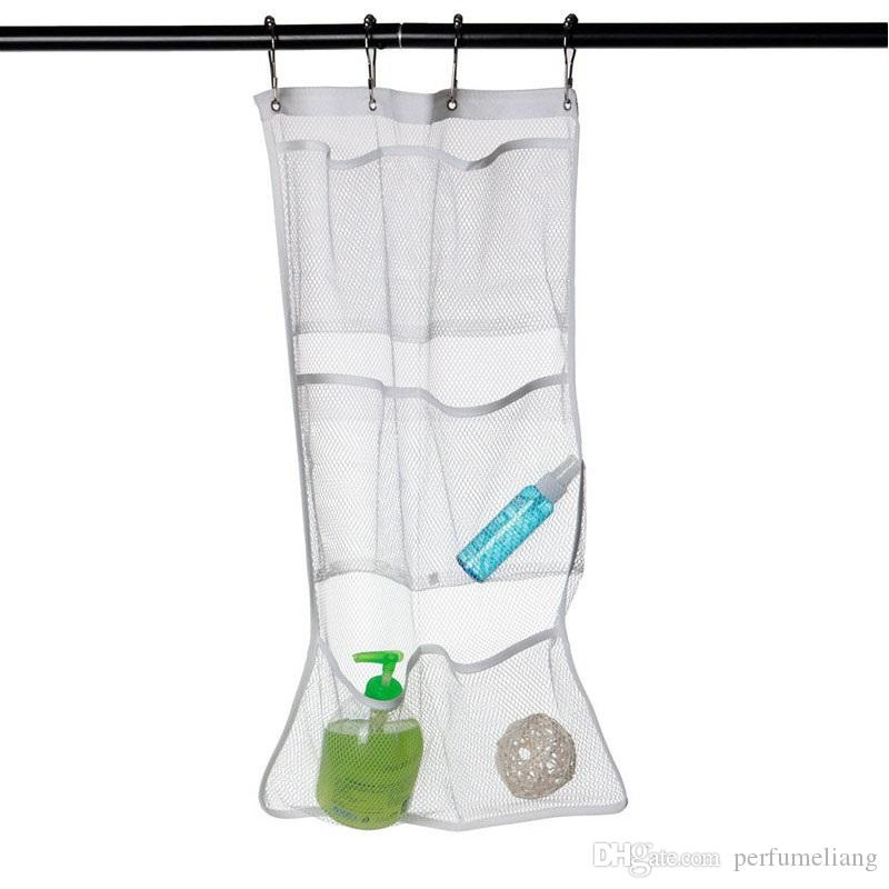 Bathroom Mesh Quick Dry Hanging Caddy Bath Organizer 6 Pocket With 4 Buckles Hooks Breathable Shower Accessories ZA3145