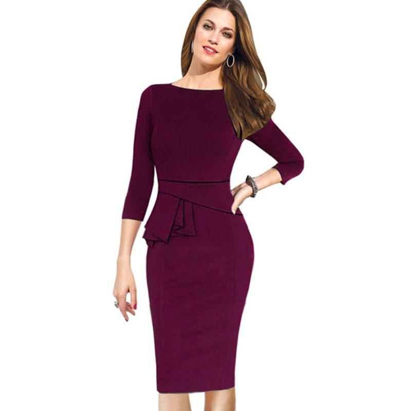 Autumn Winter Women Dress Three Quarter Sleeve Women Work Wear Dress ...