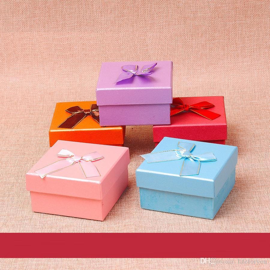صناديق المجوهرات هدية مربع علبة هدية عرس الحسنات أعلى جودة هدية مربع مع القوس 9 * 9 * 5 سم