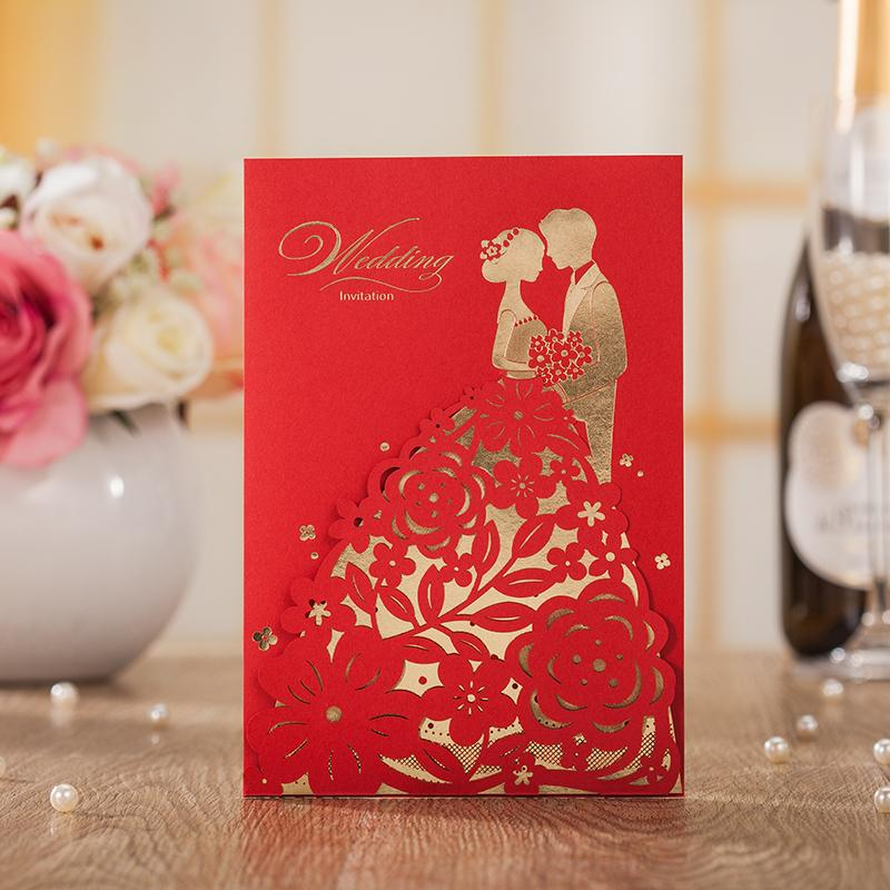 Engagement Red Groom Bride Design Wedding Invitations Elegant