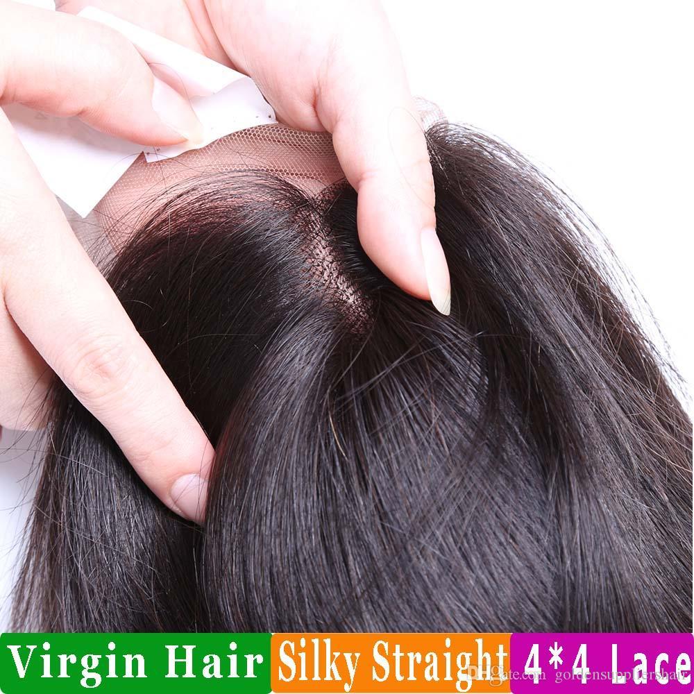 BD Ipeksi Düz İnsan Saç Uzantıları Brezilyalı Saç Demetleri Remy İnsan Saç Örgüleri Ve Üst Dantel Kapatma